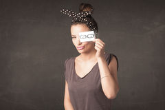 Happy girl looking with hand drawn paper eye glasses Royalty Free Stock Photos
