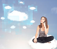 Happy girl looking at modern cloud network Royalty Free Stock Photos