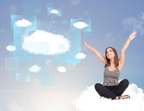 Happy girl looking at modern cloud network Royalty Free Stock Photo