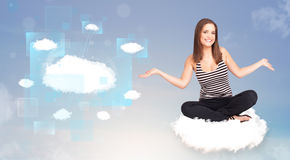 Happy girl looking at modern cloud network Stock Photography