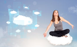 Happy girl looking at modern cloud network Stock Photo