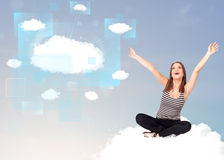 Happy girl looking at modern cloud network Stock Image