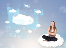 Happy girl looking at modern cloud network Stock Images