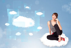 Happy girl looking at modern cloud network Royalty Free Stock Image