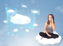 Happy girl looking at modern cloud network Royalty Free Stock Photography