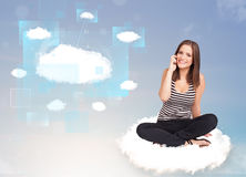 Happy girl looking at modern cloud network Stock Photos