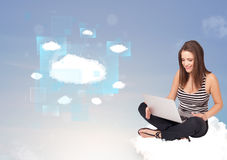 Happy girl looking at modern cloud network Royalty Free Stock Images