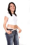 Happy girl losing weight Stock Images