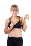 Happy girl - losing weight series Stock Image