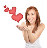 Happy girl in love Stock Photos
