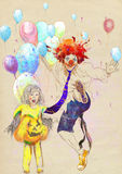 Happy girl and lucky clown. Hand drawing using digital tablet Stock Photos