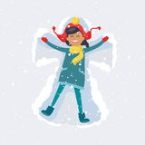 Happy Girl Makes Snow Angel. Winter Illustration. Little brunette girl in red hat, yellow scarf and winter coat makes snow angel on snowy background. Vector Stock Images