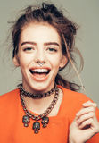 Happy girl with metallic chain Stock Photography