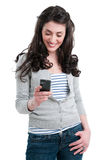 Happy girl with mobile Royalty Free Stock Images