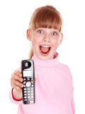 Happy girl with mobile phone. Stock Photography