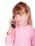 Happy girl with mobile phone. Stock Images