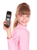 Happy girl with mobile phone. Royalty Free Stock Image