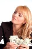 Happy girl with money Stock Photos