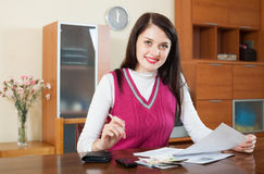 Happy  girl with money and financial documents Stock Photography