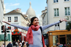 Happy girl on Montmartre in Paris Royalty Free Stock Image