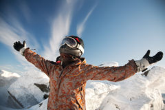 Happy girl in the mountains Stock Image
