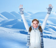 Happy girl in the mountains stock photo