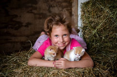 Happy girl with new born kittens Stock Photography