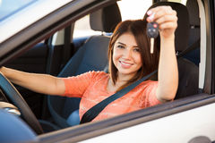 Happy girl with a new car Royalty Free Stock Photography