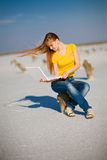 Happy girl with notebook Stock Images