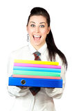 Happy girl with office folders Royalty Free Stock Image