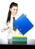 Happy girl with office folders. isolated Royalty Free Stock Images