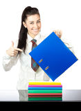 Happy girl with office folders. isolated Royalty Free Stock Photo