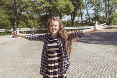 Happy girl open hands royalty free stock image