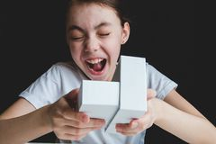 Happy girl open white gift box with smile, happiness stock photography