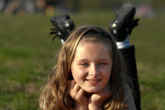 Happy girl outdoors Royalty Free Stock Photography