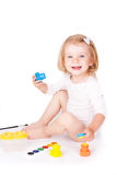 Happy girl painting Stock Photo