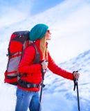Happy girl palying ski Stock Photos