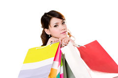 Happy girl with paper bags. Young woman happily shopping full of paper bags Stock Photo
