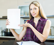 Happy girl with papers Stock Images