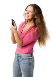 Happy girl  with PDA Royalty Free Stock Photography