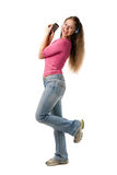 Happy girl with PDA Royalty Free Stock Images