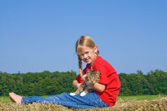 Happy girl with pet. Royalty Free Stock Photo