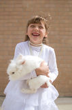 Happy girl with pet rabbit Royalty Free Stock Photo