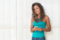 Happy Girl With Phone In Vacation Stock Photos