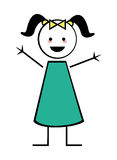 Happy girl with pigtails icon stick figure. Flat design happy girl with pigtails icon  illustration stick figure Stock Images
