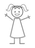 Happy girl with pigtails icon stick figure. Flat design happy girl with pigtails icon  illustration stick figure Royalty Free Stock Images