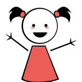 Happy girl with pigtails icon stick figure. Flat design happy girl with pigtails icon  illustration stick figure Stock Photos