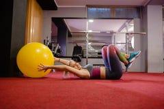 Happy girl on pilates class royalty free stock photo