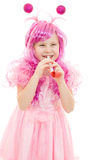 Happy girl with pink hair in a pink dress Royalty Free Stock Photos