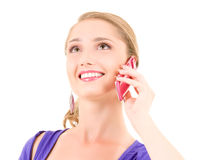 Happy girl with pink phone Royalty Free Stock Photo